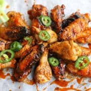 Grilled Buffalo Wing on white parchment paper