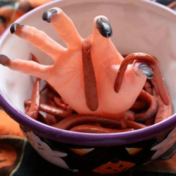 Halloween Hotdog Worms