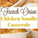 This French Onion #ChickenNoodleCasserole recipe is a delicious Southern Food Classic. It is a finger licking, go back for seconds recipe that my whole family enjoys. Now your family can enjoy it too! You might want to make 2 pans. The first pan disappears fast.