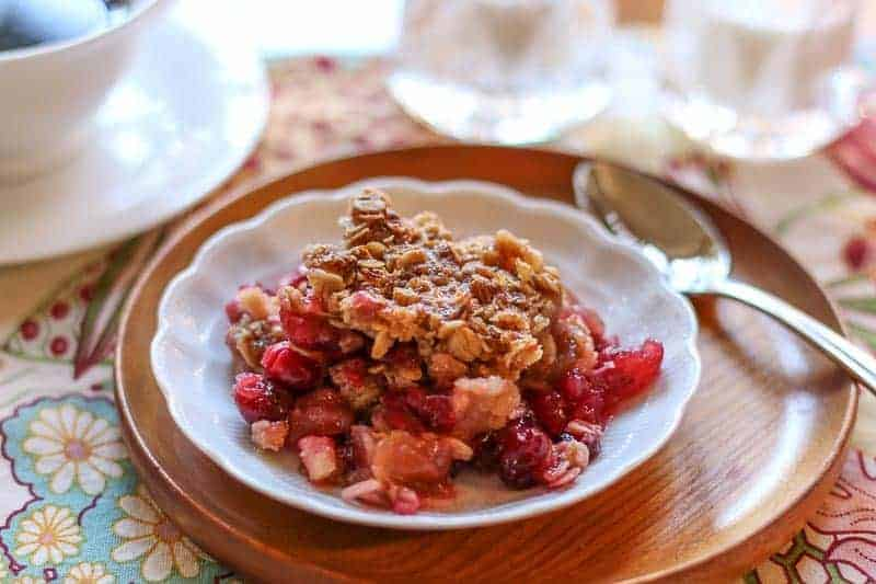 Buttery Cranberry Apple Casserole With Oatmeal Topping - A Fork's Tale