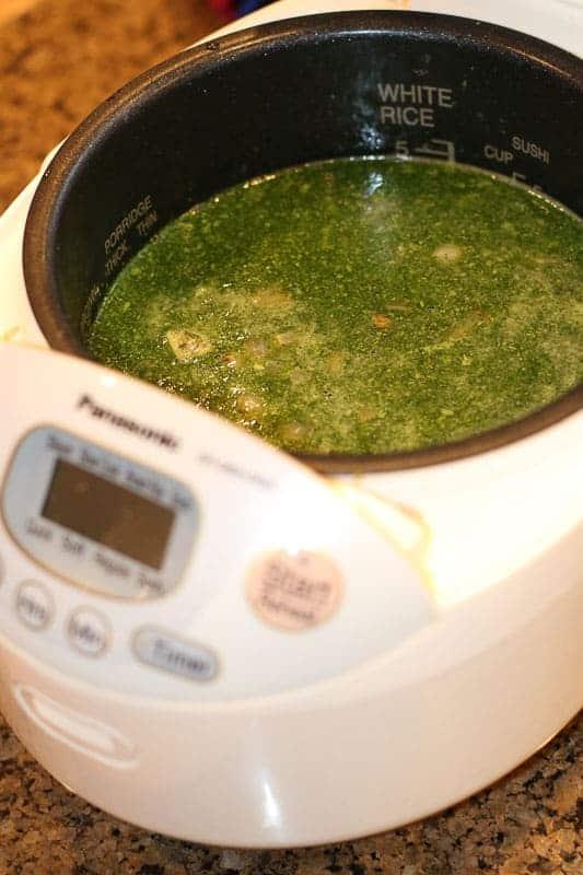 Making jalapeño, lime, cilantro brown rice