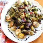 Roasted Brussels Sprouts with Speck Ham and Balsamic Glaze