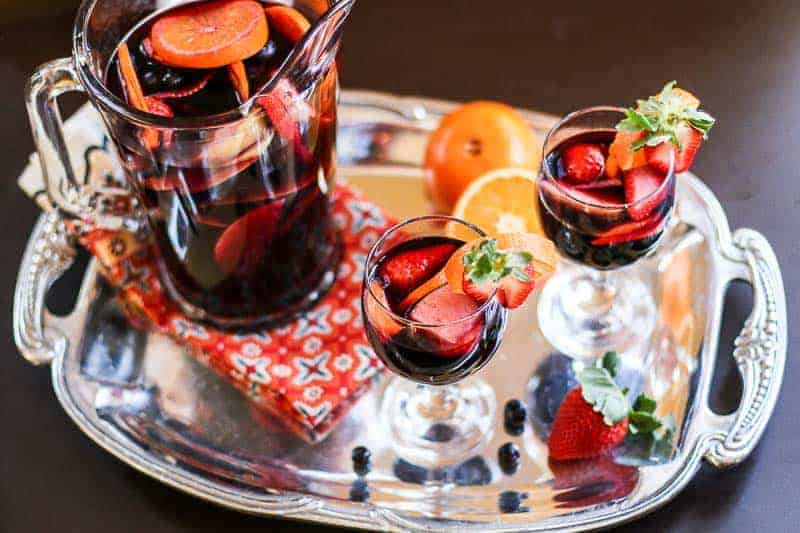 Pomegranate Orange Sangria with Blueberries and Strawberries