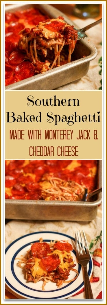 This will be the best #BakedSpaghetti Recipe you will ever make. Why Southern? There is no Mozzarella like the traditional Italian versions. Instead, I add in layers of Monterey Jack Cheese, Cheddar Cheese, and Pepperoni.