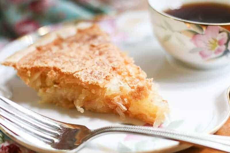 Slice of homemade French Coconut Pie
