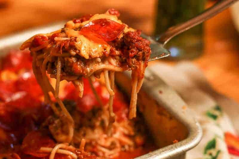 Homemade Baked Spaghetti with pepperoni