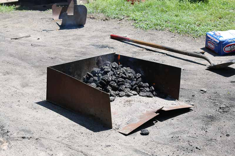 Kingsford charcoal used to cook the meat in the smokehouse.