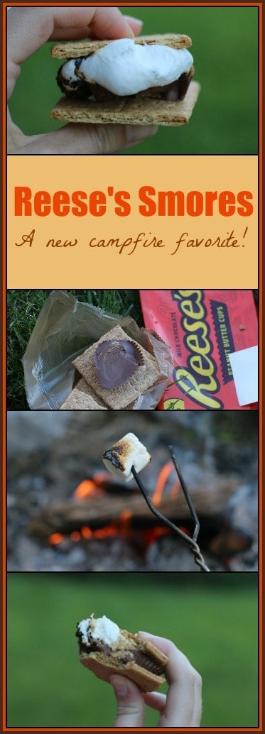 Nothing goes better with an outdoor fire than #smores! These #Reeses S'mores add a little twist to the traditional S'mores treat.