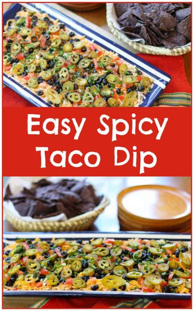 This Easy Spicy Taco Dip Recipe is a crowd pleaser that disappears in minutes. Make this delicious Spicy Taco Dip at your next cookout or party! Your guests will love it.