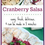 This Cranberry Salsa Recipe is easy, fresh, delicious, and can be made in 5 minutes! Dip it in chips or serve it over cream cheese with crackers. Either way, this Cranberry Salsa will be a new favorite to your holiday entertaining. #ad #WenteVinyards