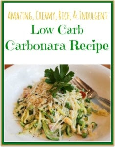 This is a creamy, rich, indulgent, Low Carb Carbonara Recipe made with zoodles from the Paderno Spiralizer.