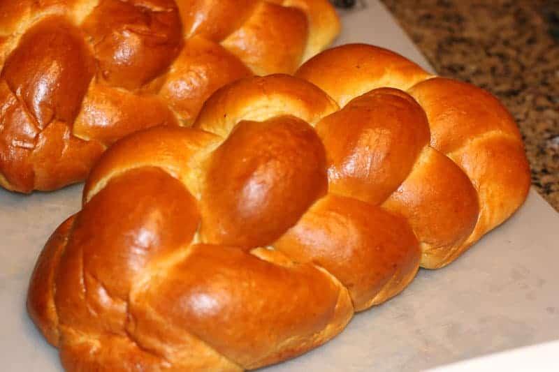 Challah bread on a cutting board