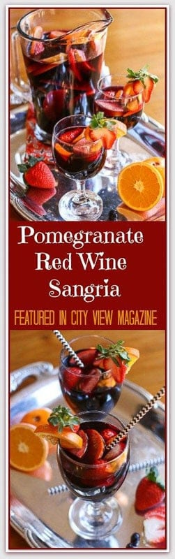 This Spanish inspired Pomegranate Red Wine Sangria is light, fruity, refreshing, and not overly sweet. The beautiful mixtures of fruit and colors makes this the ultimate entertaining drink. ¡Salud!
