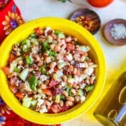 This Black Eyed Pea Greek Salad is a flavorful, healthy twist on the traditional Greek Salad. It is perfect for potlucks, cookouts, and family gatherings.