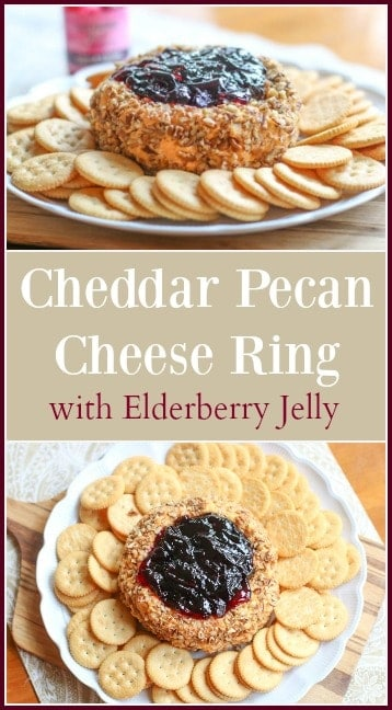 This Cheddar Pecan Cheese Ring with Elderberry Jelly is a beautiful appetizer perfect for crowd pleasing parties and family gatherings. The sweet and tart Elderberry Jelly compliments the sharp and salty cheese mixture. It is absolutely delicious!
