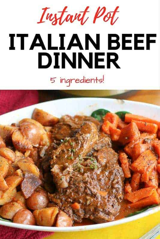 This is a five ingredient, easy, delicious Instant Pot Italian Beef Dinner Recipe. The tender meat pulls apart with a fork. The dry Spaghetti Sauce mix combined with the juices from the meat and veggies develops a delicious Italian flavor. (Don't worry it will not taste like spaghetti!)