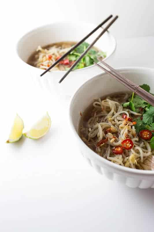 The slow cooker makes perfect broth in this Slow Cooker Beef Pho.