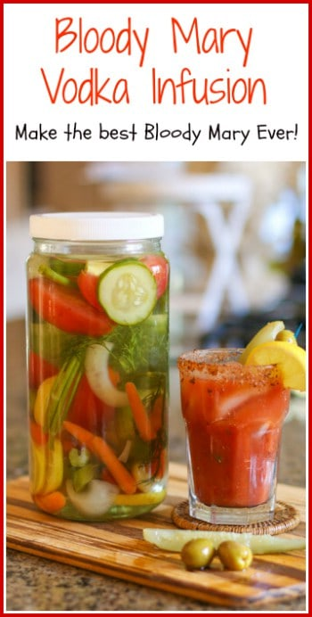 Are you serious about your Bloody Mary? Do you like a really, really good one? This Bloody Mary Vodka Infusion is made with a variety of flavorful fresh vegetables and herbs. Mix it in with your favorite Bloody Mary Mix and you have THE BEST BLOODY MARY EVER!!!