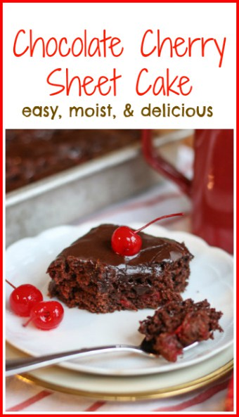 This Easy Chocolate Cherry Sheet Cake is moist and delicious filled with cherries and topped with a crispy, fudge frosting.