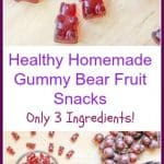 #ad This is an easy, gluten free, healthy Homemade Gummy Bear Fruit Snacks recipe! It is made with only 3 ingredients: Welch's 100% Grape Juice, honey, and Gelatine!