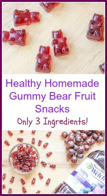 #ad This is an easy, gluten free, healthy Homemade #GummyBear Fruit Snacks recipe! It is made with only 3 ingredients: Welch's 100% Grape Juice, honey, and Gelatine!
