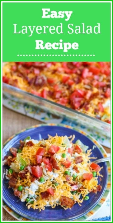 This is an easy, delicious Layered Salad Recipe that is perfect for pot-lucks, cookouts, and family gatherings.