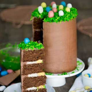 This is lovely sky-high Chocolate Easter Cake recipe inspired by the Cadbury Egg.