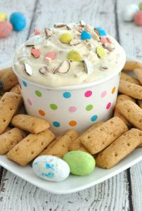 Malted Milk Easter Dip from Dip Recipe Creations: This is an easy 6 ingredient dessert recipe for Easter. If you love malted milk or whopper robin eggs, you will love this Easter Malted Milk Dip!