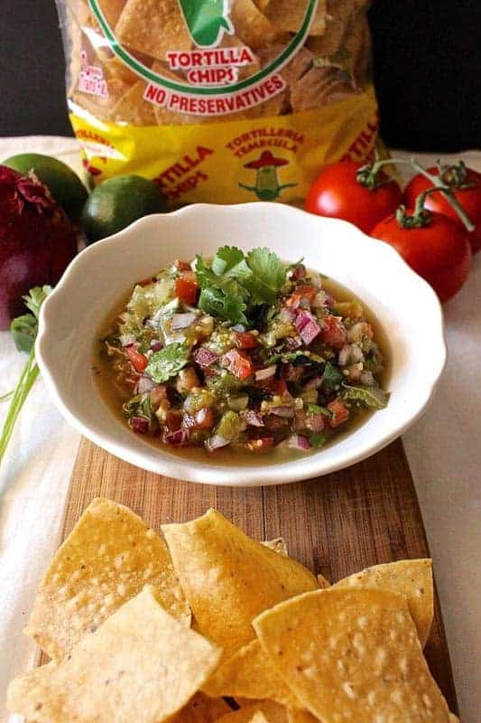 Chunky Roasted Tomatillo Salsa from The Sunday Glutton: This salsa is bright and acidic from the lime, a little sweet from the roasted tomatillos, and subtly spicy from the jalapeño.