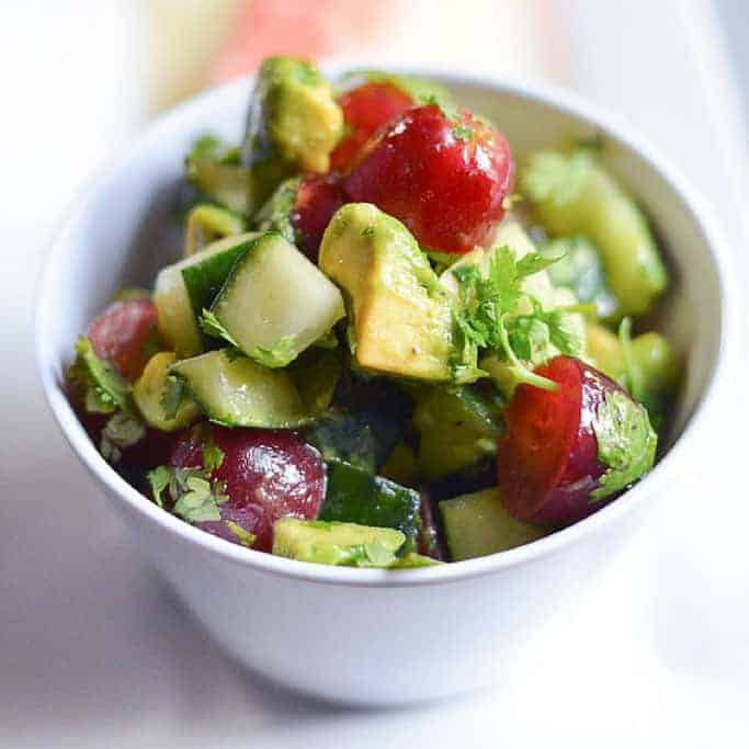 Cucumber Avocado Red Grape Salad from The Kitchen Girl: Between the cucumber, grapes, and avocado…it's hydrating, healthy, and the perfect, chilled dish.