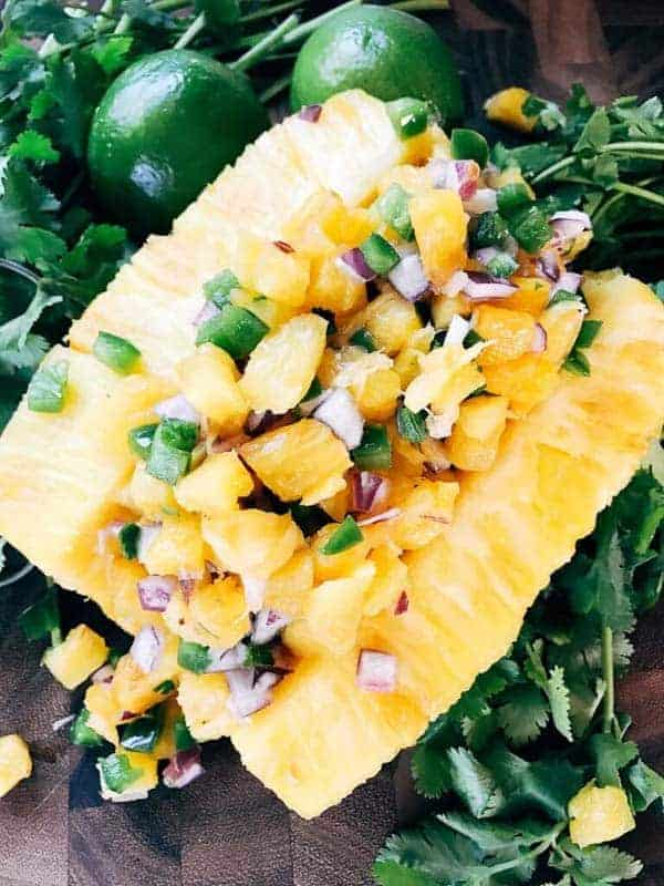 Pineapple Serrano Salsa from Three Olives Branch: Ready in 10 minutes, this fun and unique salsa is a perfect twist on pico! Great for a cookout, barbecue, party appetizer, and more!