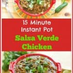 15 Minute Instant Pot Salsa Verde Chicken is easy to make, full of delicious spicy flavor, and healthy! It is great as an entree or on tacos, burritos, enchiladas, and over rice. It is paleo friendly, low carb, and gluten free. You will love this tasty dish.