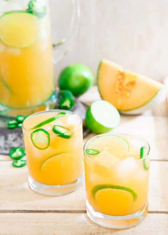 Cantaloupe Lime Jalapeno Agua Fresca by Running to the Kitchen