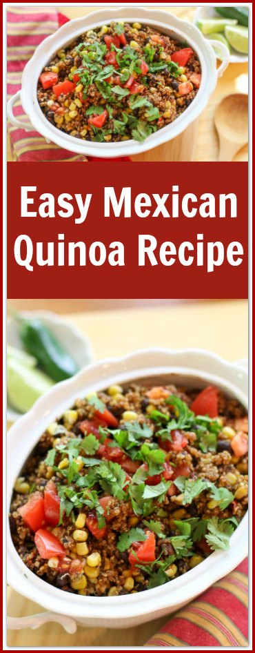 This Mexican Quinoa Recipe is almost shamefully easy. The flavorful, colorful ingredients makes it an incredibly tasty dish.