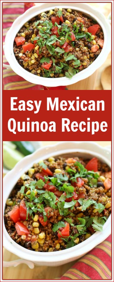 This #MexicanQuinoaRecipe is almost shamefully easy. The flavorful, colorful ingredients makes it an incredibly tasty dish.  It is a great alternate to traditional #MexicanRice!