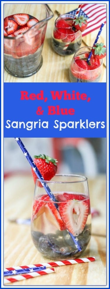 We are shaking this White Sangria up by adding a little bubbles, and Red and Blue! You will love these easy Red, White, and Blue Sangria Sparklers! #ad