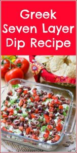 This Greek Seven Layer Dip is a delicious spin off the traditional Seven Layer Dip with layers of hummus, tzatziki sauce, feta, and veggie toppings.