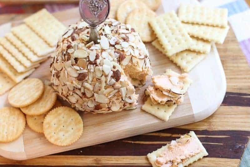 port wine cheese ball and crackers