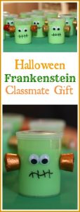 This Halloween gift is quick and easy to put together. The little Frankensteins are sure to bring a smile to child's face and make a memorable impression. Learn how to make these cute little Frankenstein Halloween gifts in this easy tutorial. #halloweengifts #Frankenstein