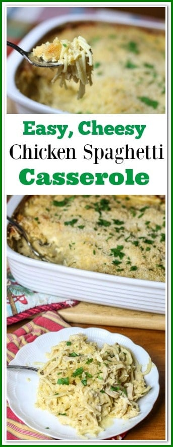 Chicken Spaghetti Casserole, also known as Chicken Tetrazzini is a creamy, cheesy, tasty pasta dish. It is loaded with a chicken, cheese, and a cream sauce, then topped with a cheesy panko crust.  It is the perfect comfort food for the entire family that everyone is sure to love