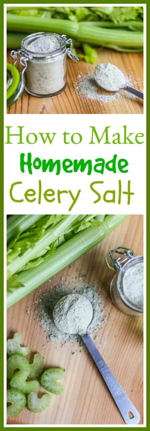 Learn how to make #celerysalt from scratch. #Homemadecelerysalt is so much more flavorful and tasty than the store bought version. Use it to spice up dishes, flavor vegetables, or season a Bloody Mary! Yum!