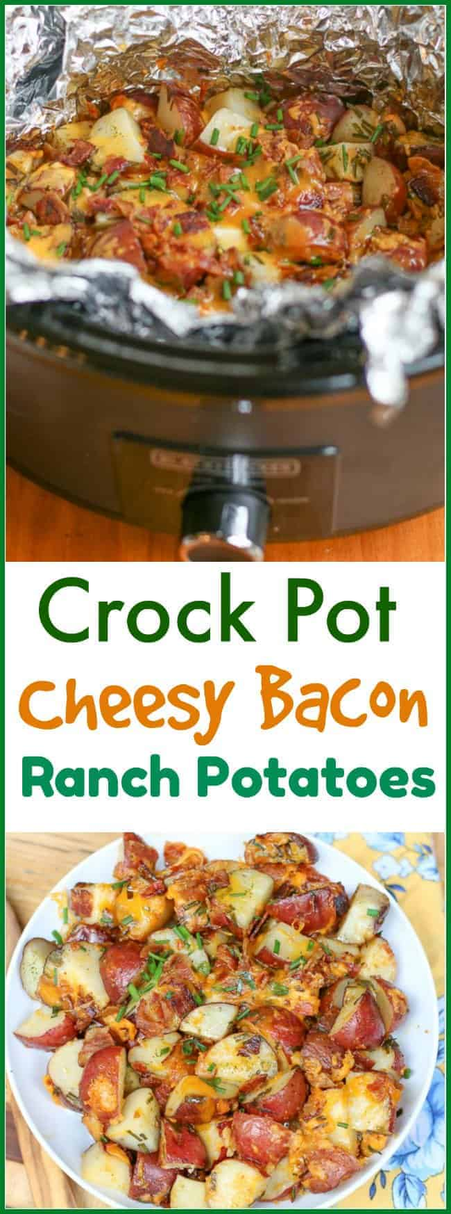 Bacon. Cheese. Potatoes. Need I say more? This Easy #CrockPot Cheesy Bacon #RanchPotatoes recipe only requires a few ingredients and makes a delicious side dish that your entire family will love. @potatoGoodness #ad #Potatoes #CLVR