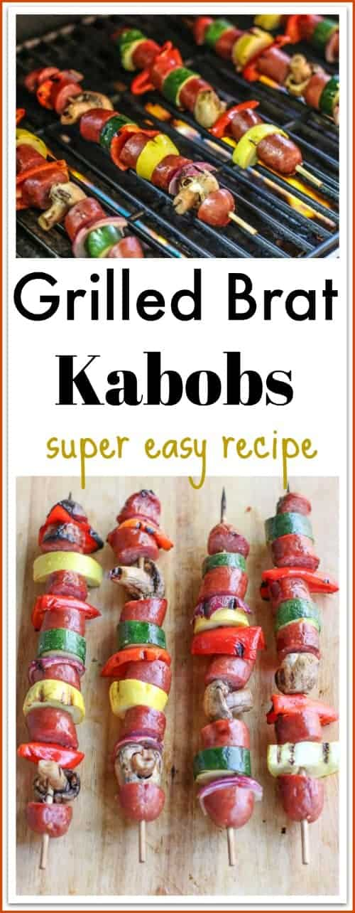 Looking for a delicious #bratrecipe? These #grilledkabobs are super easy to make. They are bright, colorful, delicious, and fun to grab to pick up to eat. Make these brat kabobs for a busy weeknight family meal, tailgate, or your next back yard barbecue. #ad