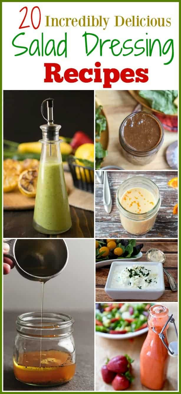 Why buy store bought salad dressings when homemade salad dressings are easy to make and much more flavorful and tasty? Here is a round up of 20 Incredibly Delicious #HomemadeSaladDressing recipes. These #salad dressing recipes will make a bland salad fantastic.