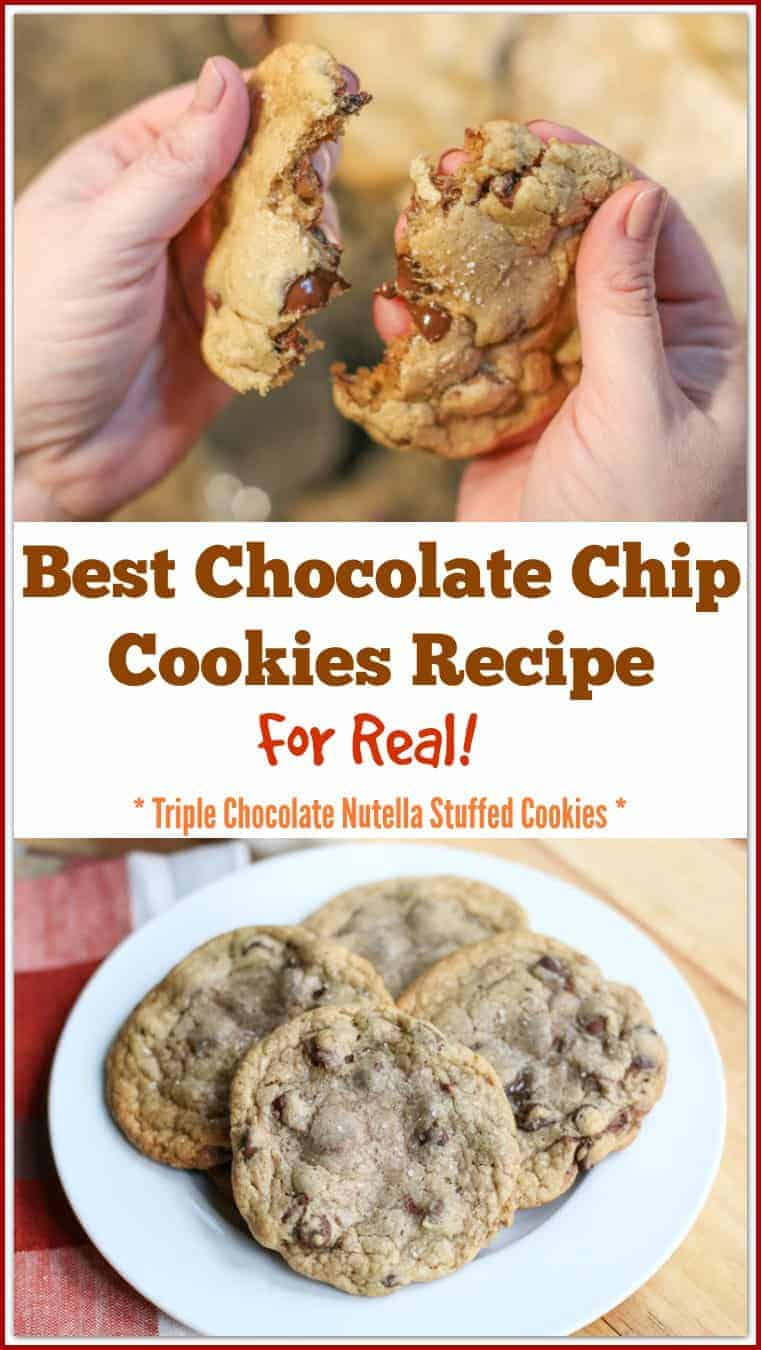 Anyone can say they have the best chocolate chip cookies recipe, but this really is the best EVER! REALLY! These are salted, brown buttered, triple chocolate, Nutella stuffed cookies that will absolutely make your mouth drool for more after one bite. They have a crispy edge and a gooey center.