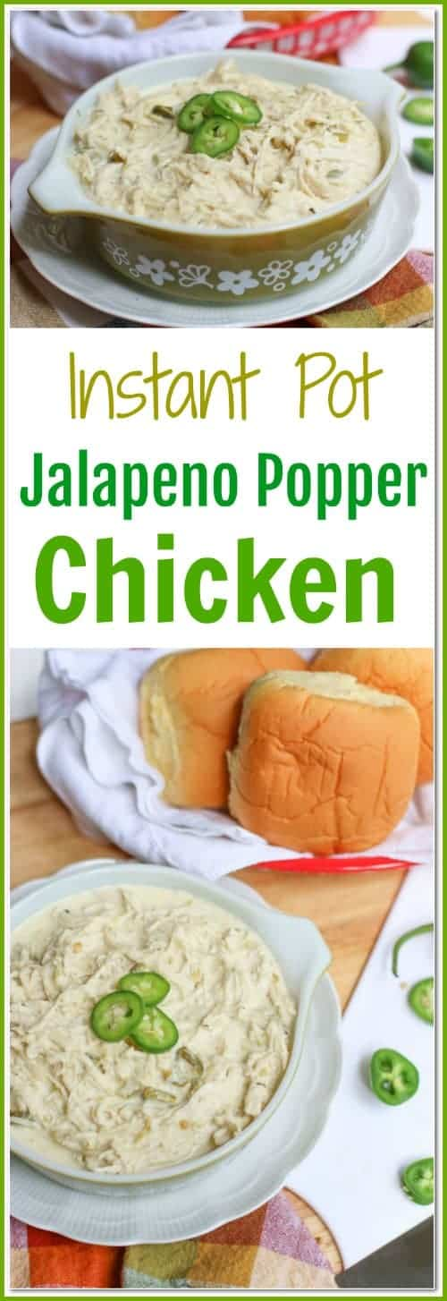 This easy Instant Pot Jalapeno Popper #Chicken recipe can be made in under 30 minutes. The jalapeno popper chicken is cheesy, spicy, and incredibly flavorful. Add the shredded cheesy chicken on a bun for a sandwich or eat it plain for a low carb option.