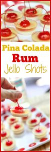 Easy to make; these pretty tropical #PinaColada Rum #JelloShots start with a creamy coconut bottom layer, a  delicious pineapple flavored center, and a sweet cherry to top it off. You can pick them up by the cherry stem and pop them in your mouth. How fun is that? #ad #aforkstale