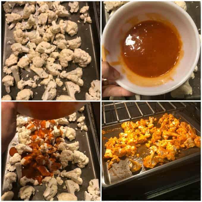 step by step image on how to make buffalo cauliflower