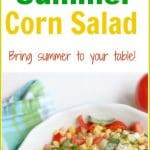 Bring summer to your table with this easy, simple garden fresh Summer #CornSalad. Beautiful vibrant mixtures of fresh red tomatoes, green basil, yellow #corn, white onion, and dressing create a pleasing side salad to any meal. This is the perfect way to enjoy the garden's summer corn and tomatoes.
