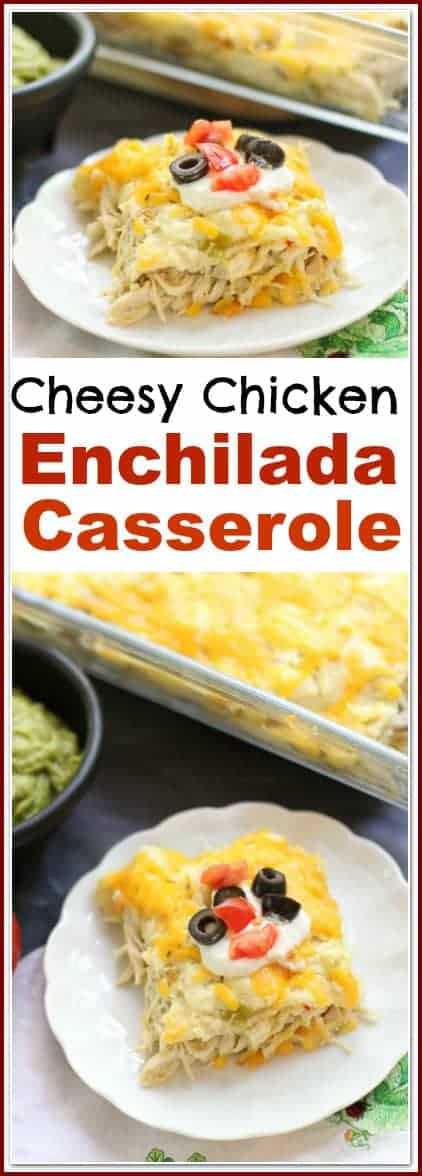 This Cheesy #ChickenEnchiladaCasserole is loaded with Pepper Jack & Cheddar cheese with a semi-spicy chicken filling. Top this #chickenenchilada #casserole with black olives, salsa, and guacamole and you have one easy, delicious meal!